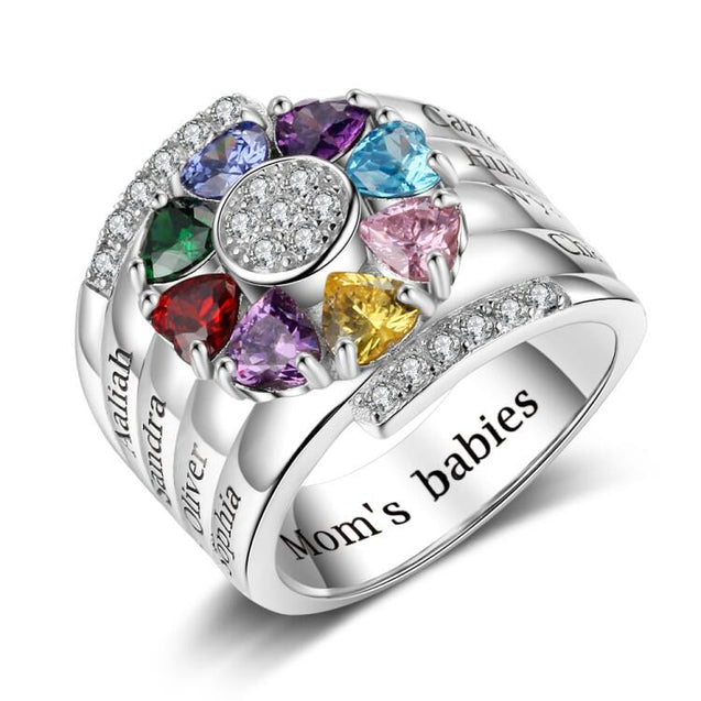family ring with 8 birthstone 8 names sterling silver personalized custom gift for mom