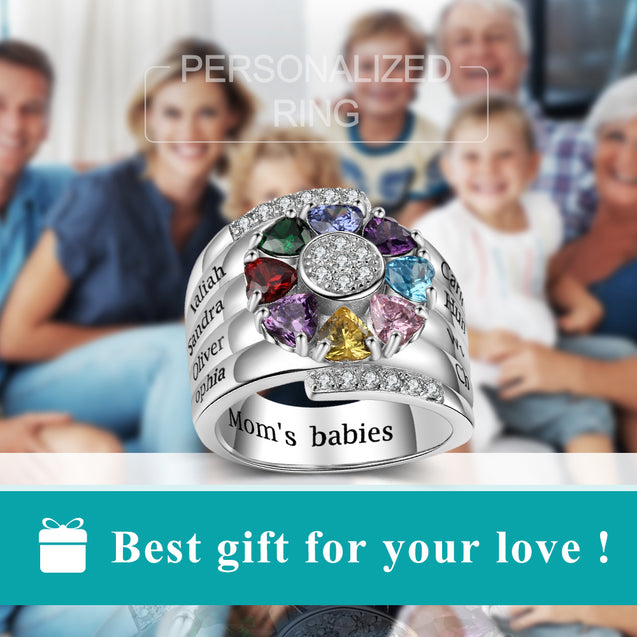 Birthstone Mother Ring 8 Stones Engraved 8 Names Personalized Family Ring Unique Gift  for Grandmother