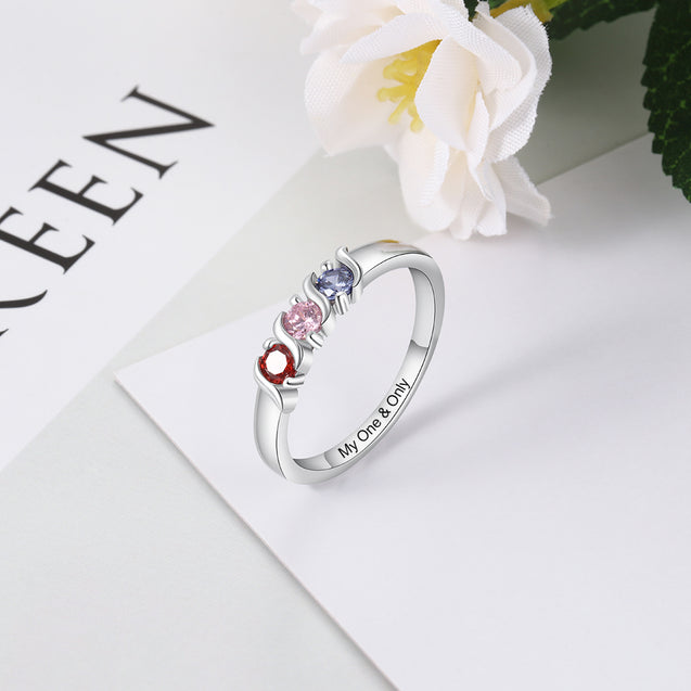 Mother Ring Personalized with 3 Stones Engraved Band Ring Custom Sterling Silver Mother's Day Gift