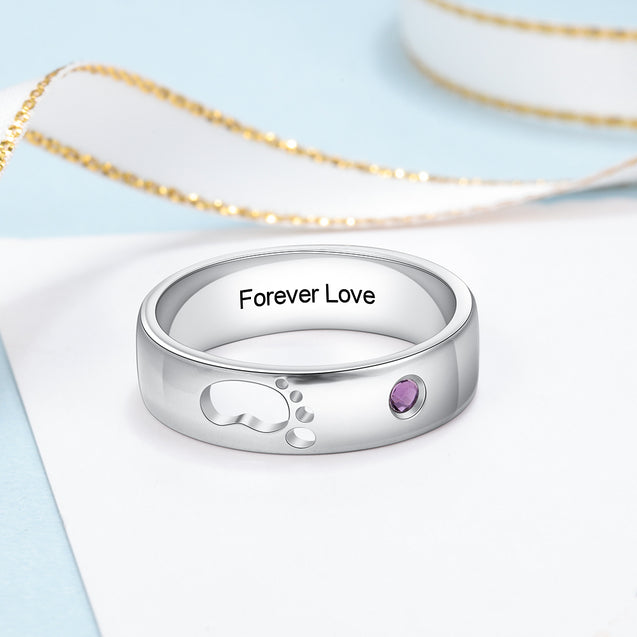 Baby Feet Ring 1 Birthstone Engraved Name Perfect Gift For New Born