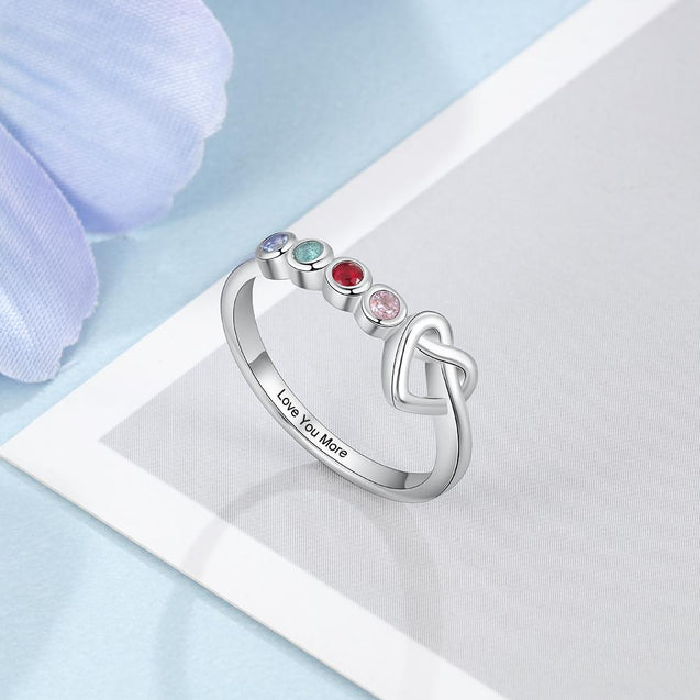 Mothers Rings with 4 Birthstones Custom for Women