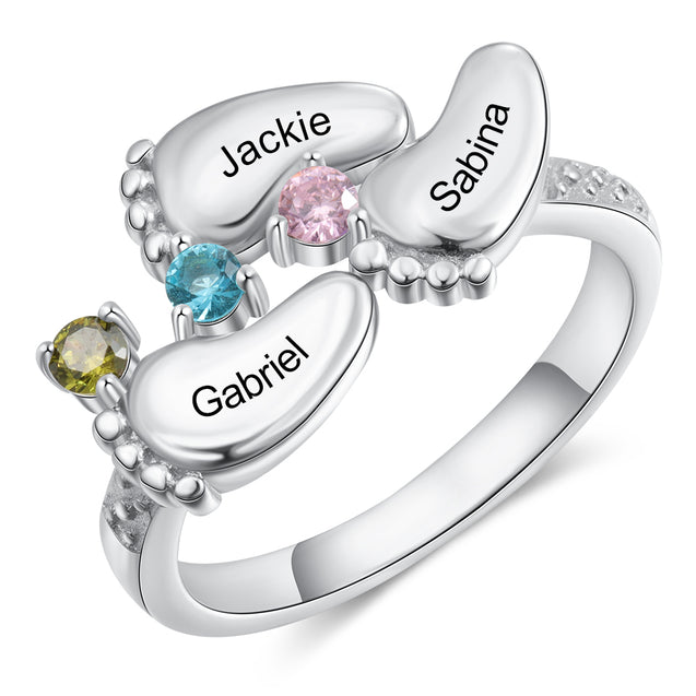 Baby Feet Ring with 3 Birthstones Mothers Ring Engraved 3 Names