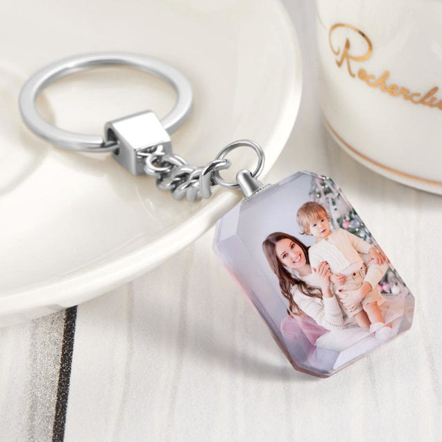 Crystal Photo Key Chain Personalized Square Photo Keychain