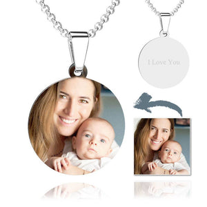 Personalized Photo Engraved Necklace Round Pendant