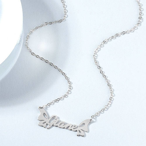 Name Necklace with Butterfly Wing Cute Custom Name Necklace Best Gift for Girls