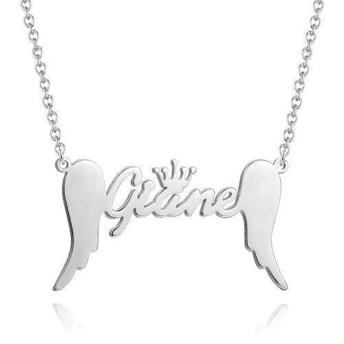 Crown Name Necklace With Angel Wings