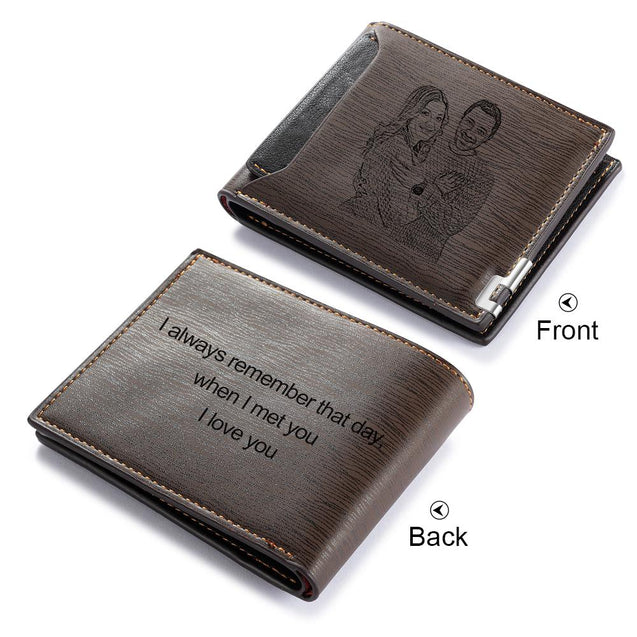 Men Wallet Personalized Photo Wallet With Engraving Brown