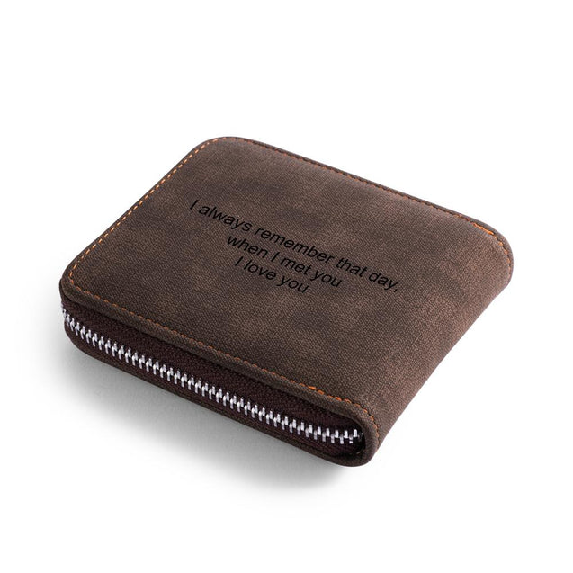 Men Photo Wallet Personalized With Zipper Short Style Brown Leather