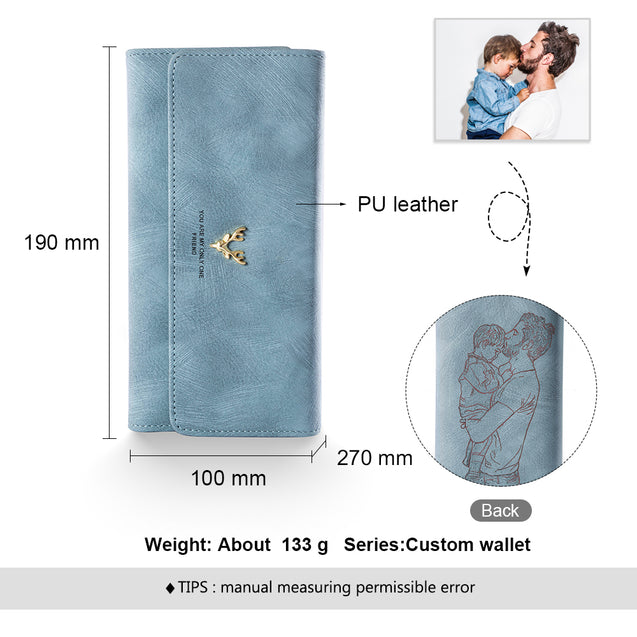Personalized Photo Wallet With Engraving Women Wallet Blue