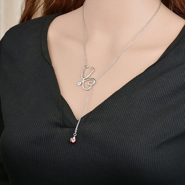 Stethoscope Necklace WIth Heart Birthstone Love Necklace Doctor Nurse Gift