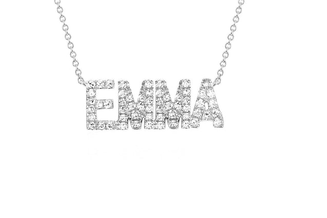 Sparking Name Necklace Personalized With Cubic Zirconia Rose Gold
