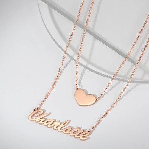 Personalized custom necklace Layers Name Necklace with Heart silver