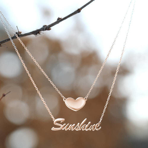 Custom Name Necklace Delicate Pendant Bar Necklace Silver