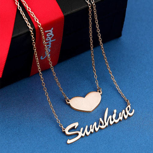 Custom Name Necklace Delicate Nameplate Pendant Heart