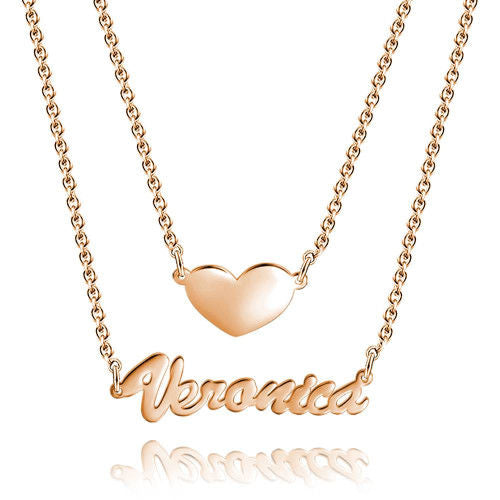 Personalized Engraved Name Necklace Gift for Daughter Mother Rose Gold Plated