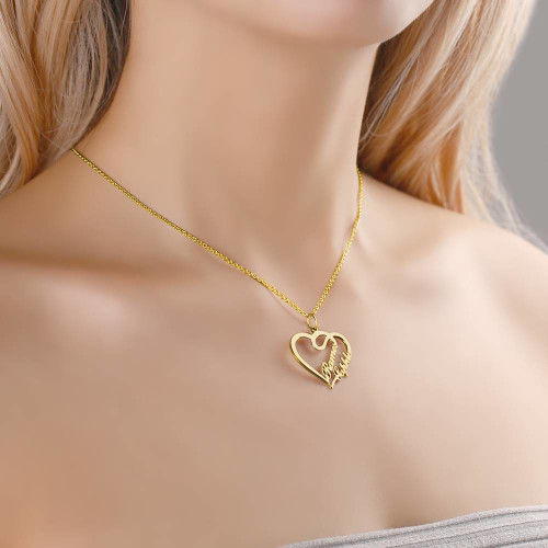 heart neckalce with name Gold Plated gift ffor girl