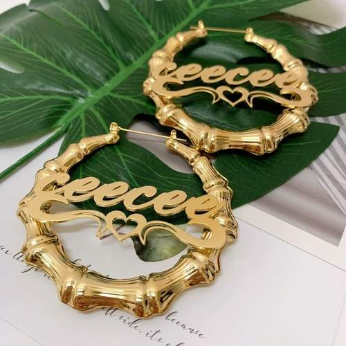 Personalized Bamboo Hoop Name Earrings with Heart