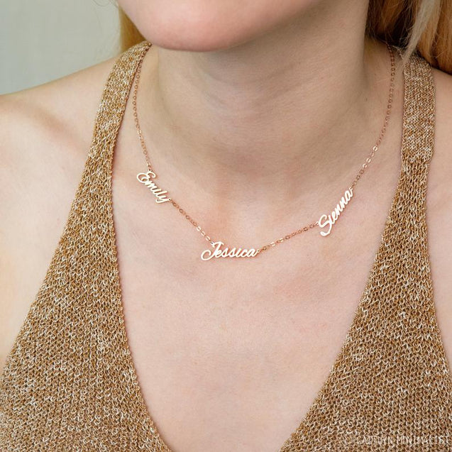 Four Name Necklace Custom 4 Names Personalized Multiple Name Necklace