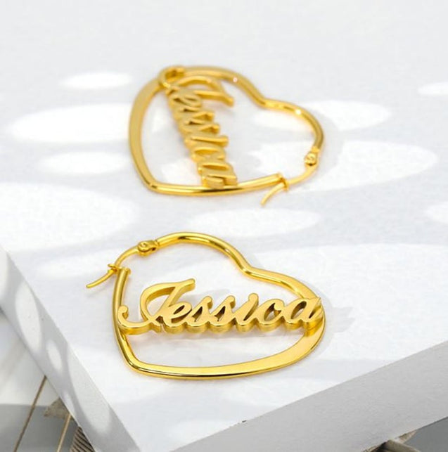 Heart Personalized Name Hoop Earrings Nameplate Earrings Gift for Her