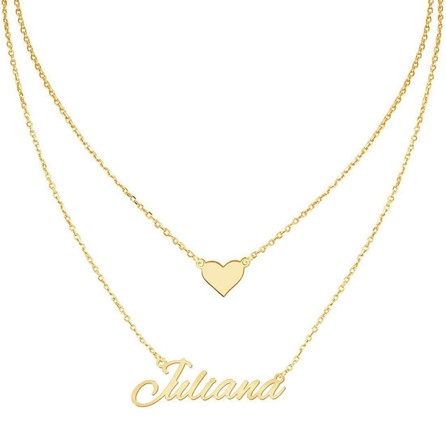 Layered Choker Name Necklace Personalized with Heart