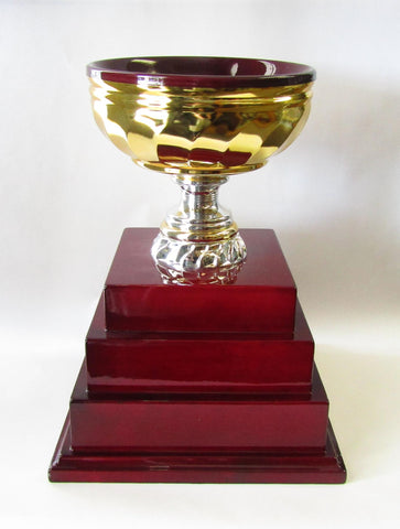 Burgandy Lined Gold Metal Cup on Three Tiered Base| Rubies Inc., Chatham, Ontario, Canada