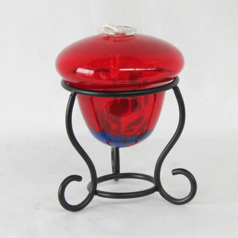 Red Art Glass Oil Lamp | Rubies Inc., Chatham Ontario, CANADA