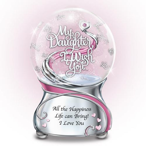 "Daughter "" I Wish You All Happiness"" Glitter Globe 