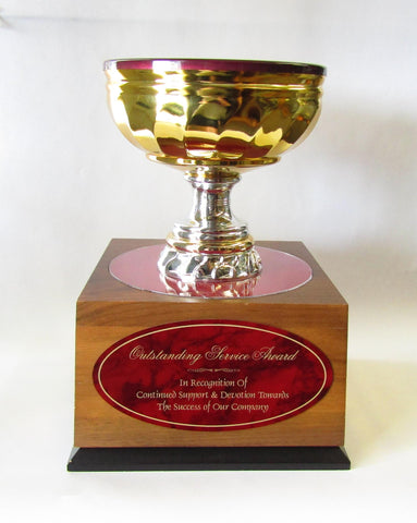 Gold Cup with Burgundy Lining on Walnut Box Base