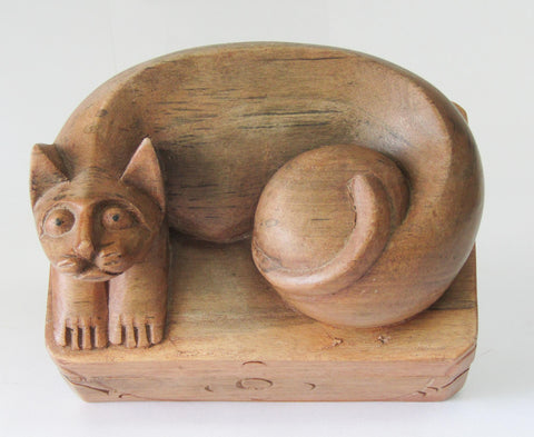 Carved Wooden Cat Box | Rubies Inc, Chatham, ON, CA