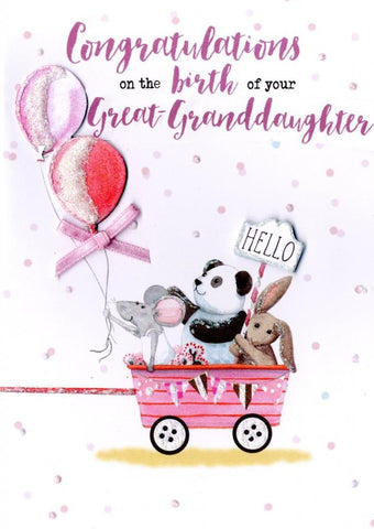 Birth of Great Granddaughter Card | Rubies Inc Chatham ON Canada