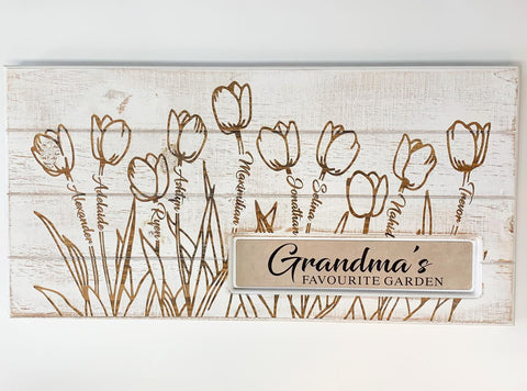Grandma's Garden Custom Engraved Plaque
