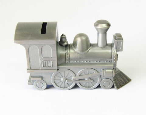 Pewter Finish Train Bank | Rubies Inc., Chatham, Ontario, Canada