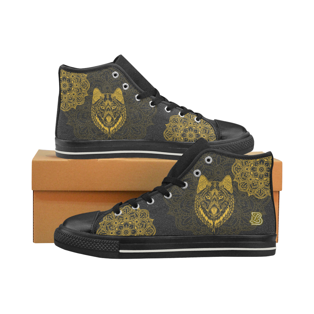 Golden Wolf Mandala by ZeusArt - High Tops and Low Tops