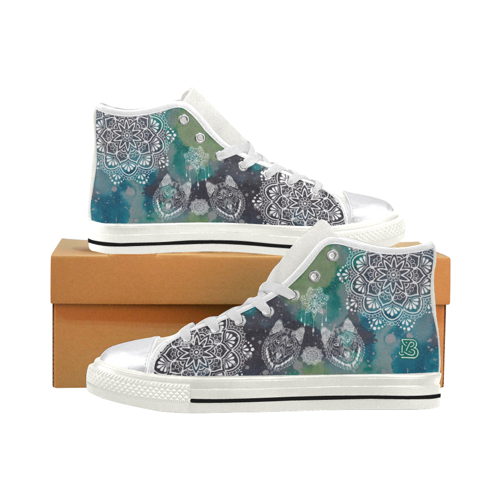 Wolf Heads Mandala By ZeusArt - High Tops and Low Tops