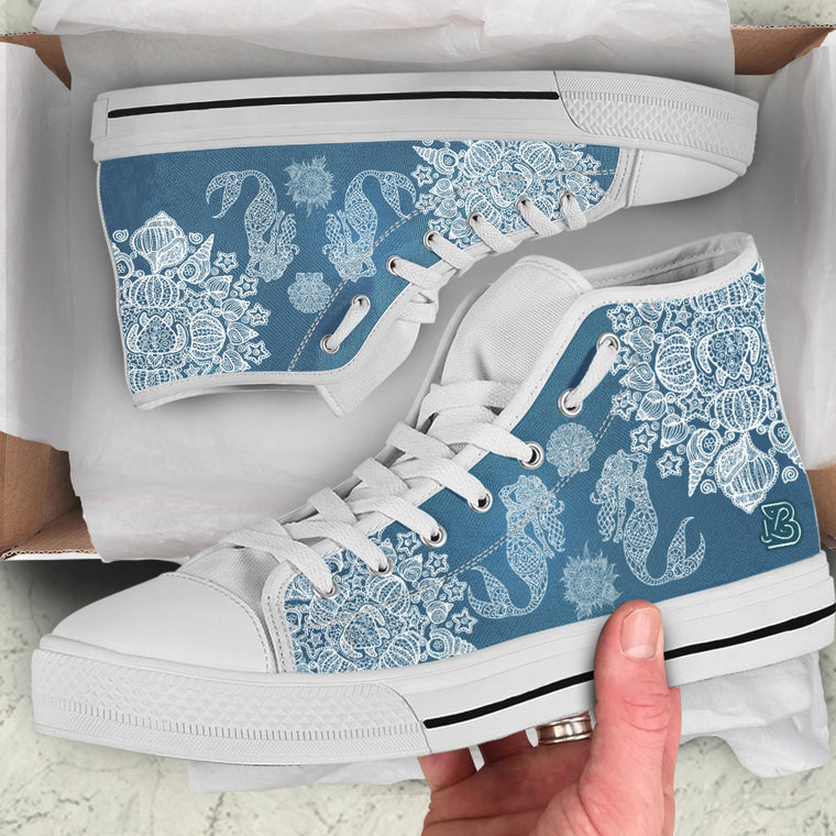 Mermaid Shell Mandala by ZeusArt - High Tops and Low Tops