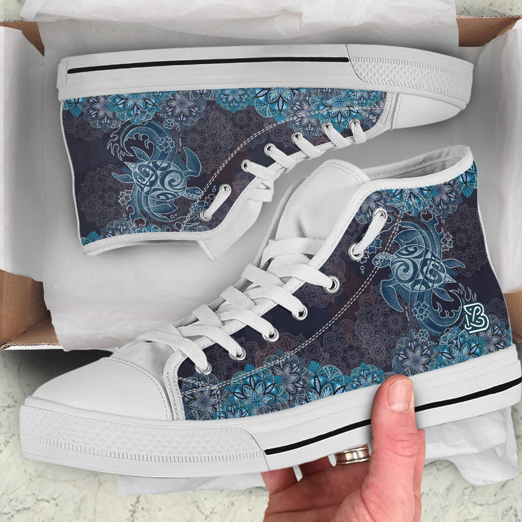 Blue Sea Turtle Swirls by ZeusArt - High Tops and Low Tops