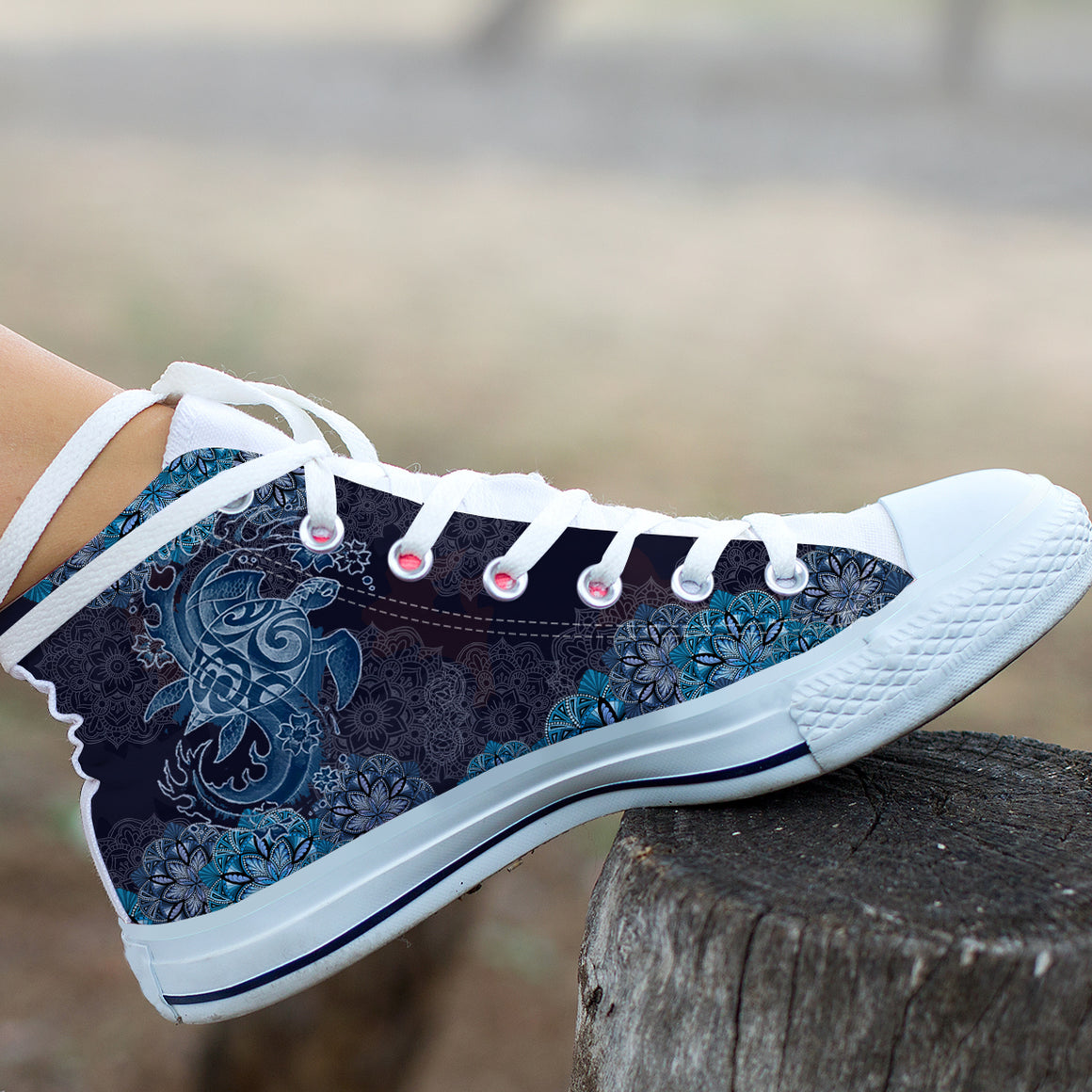 Blue Sea Turtle Swirls by ZeusArt - High and Low Tops Shoes
