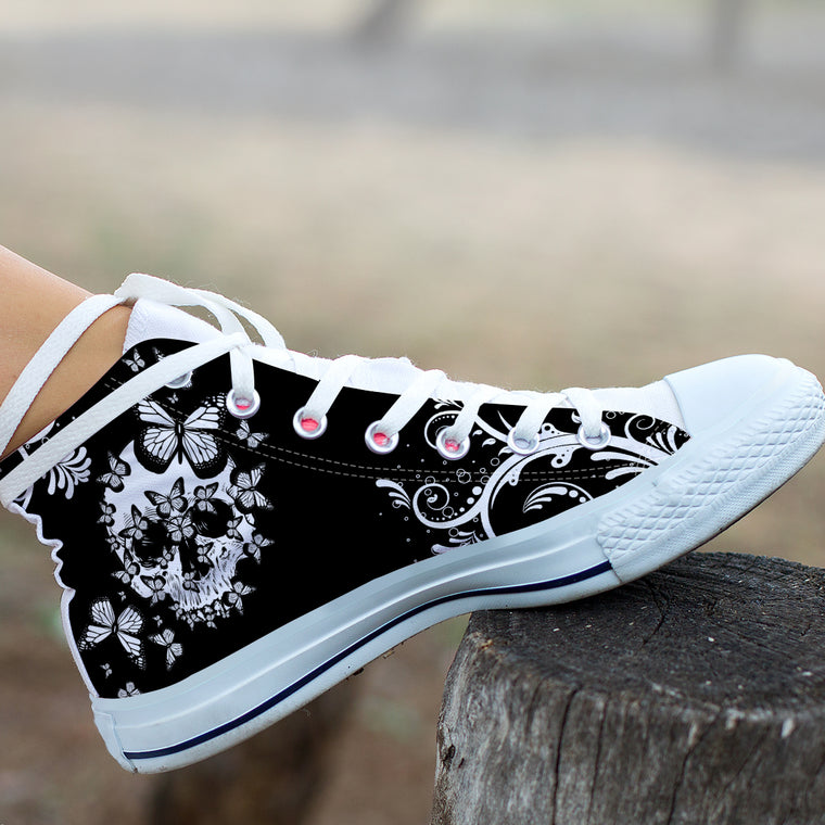 Butterfly Skull - High Tops and Low Tops Shoes