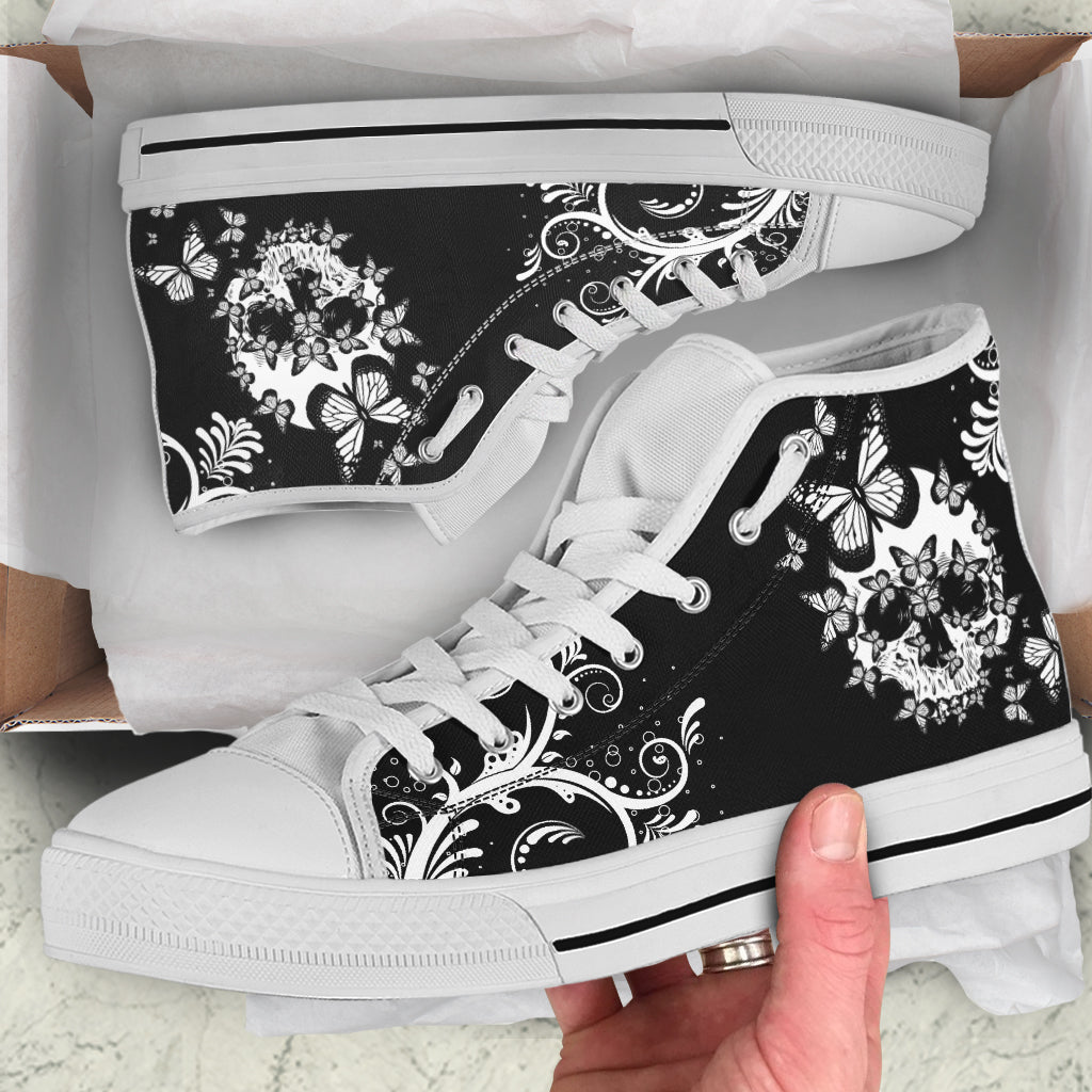 Butterfly Skull by AuroraArt - High Tops and Low Tops Shoes