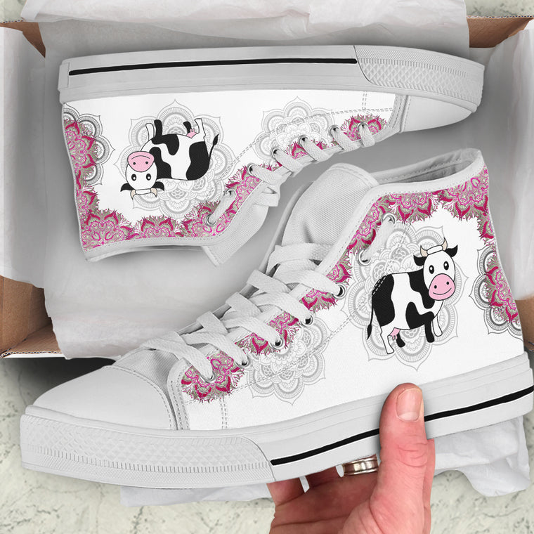 Cow Floral by LeslieOng - High and Low Tops