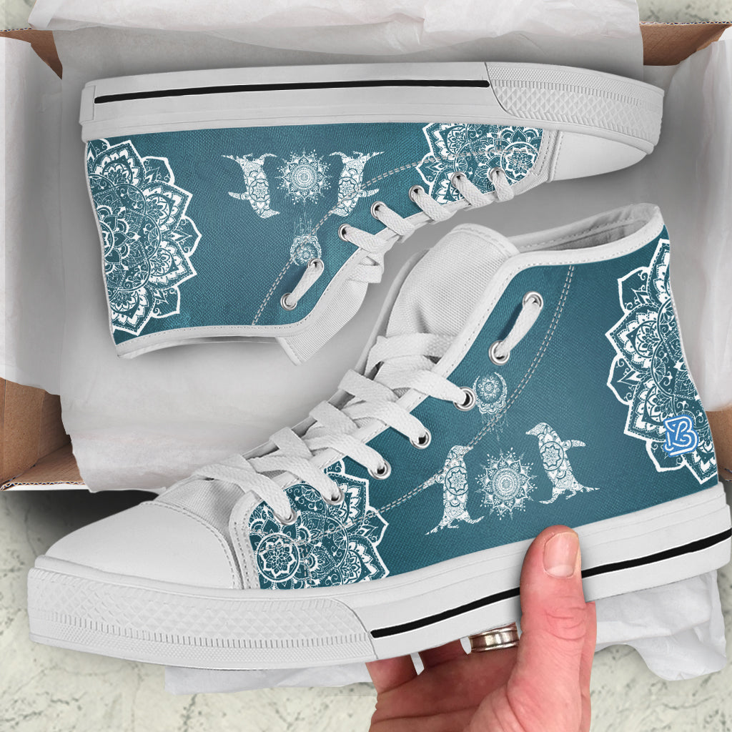 Cute Mandala Penguins by ZeusArt Penguins High and Low Tops