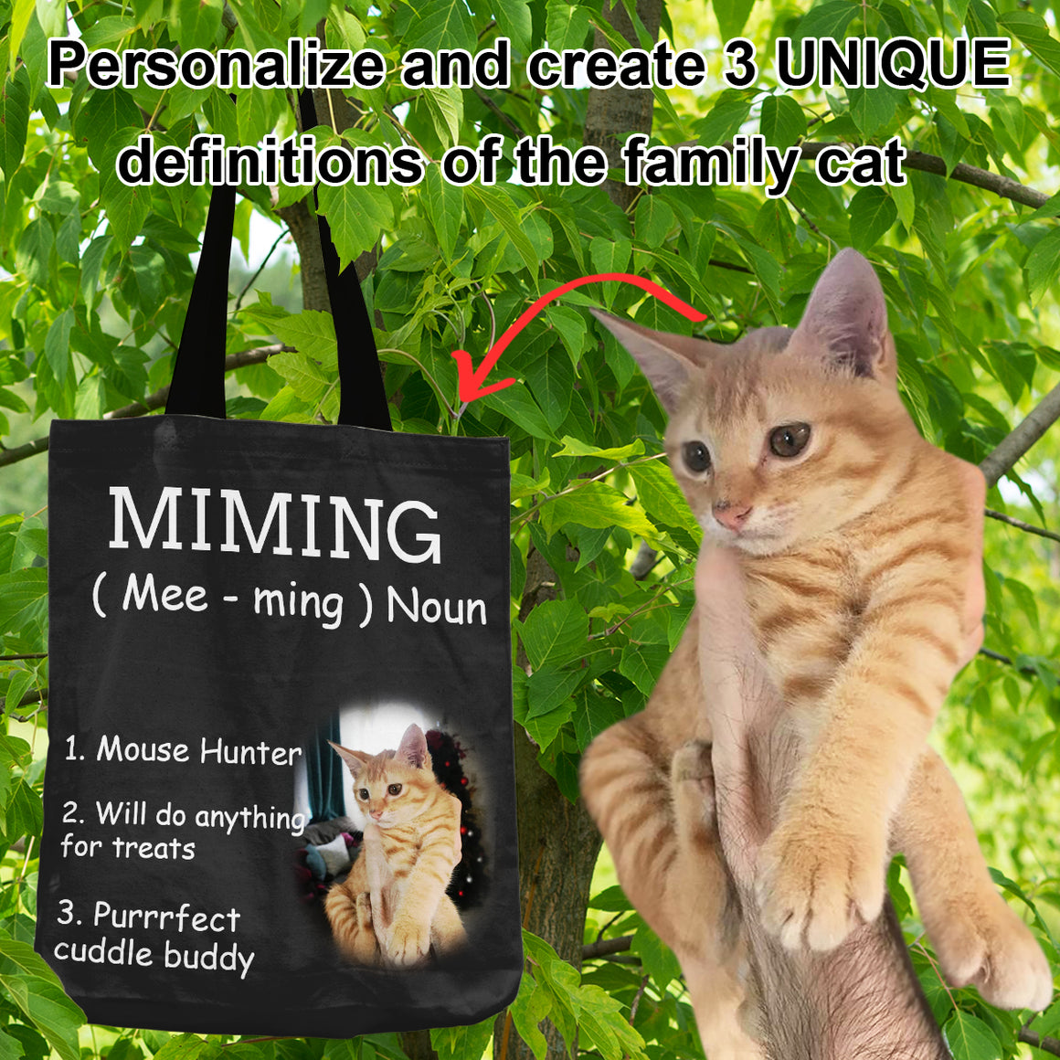 Definition of the Family Cat - Personalized Shopping Tote Bag