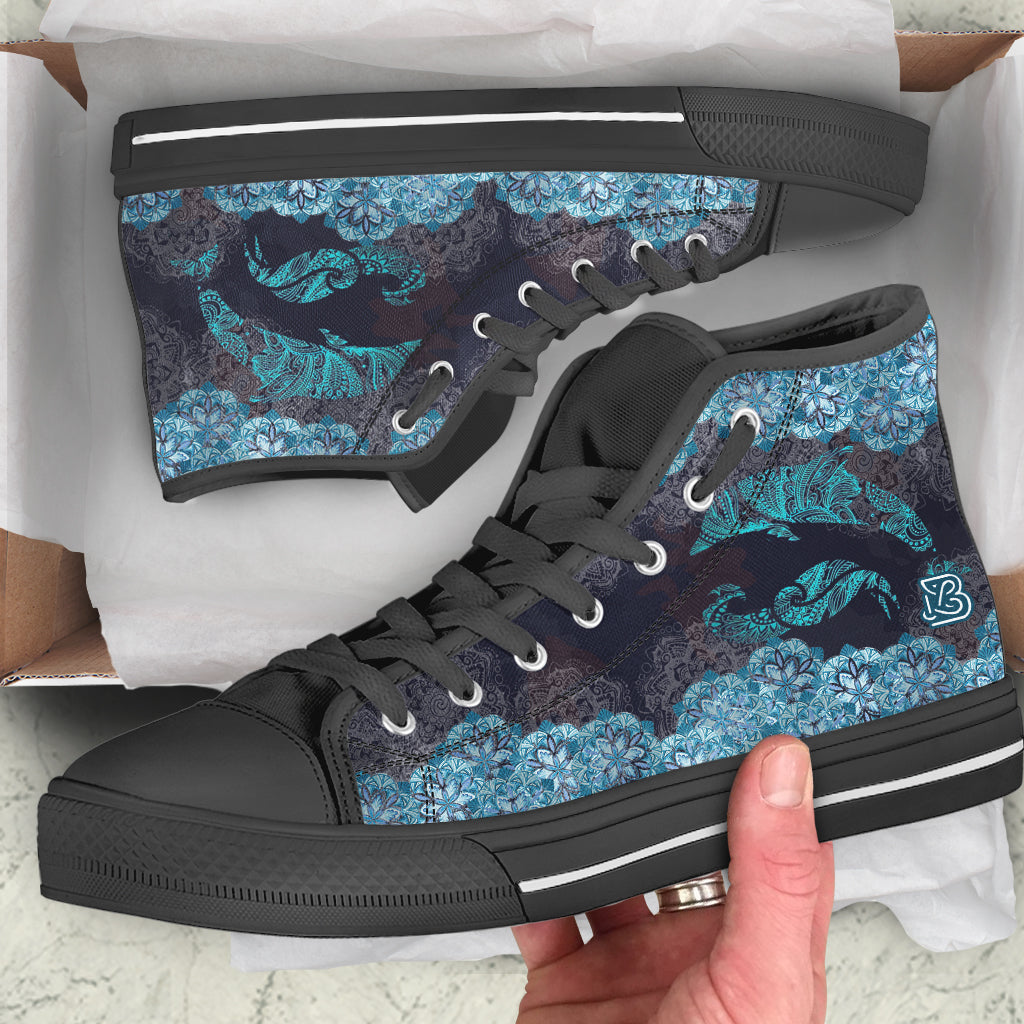 Dolphin Waves Mandala by AuroraArt - High Tops and Low Tops
