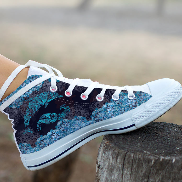 Dolphin Waves Mandala by AuroraArt - High and Low Tops Shoes