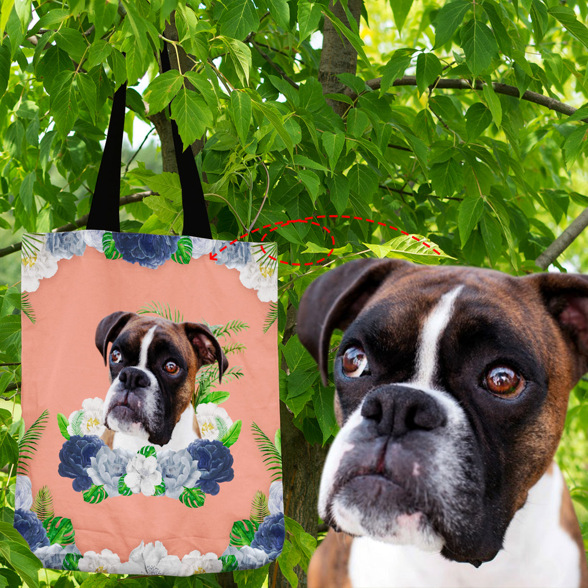 Personalized Doggie Floral - Shopping Tote Bag