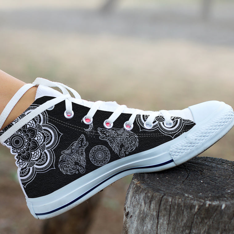 Howling Wolf Mandala by ZeusArt - High Tops and Low Tops