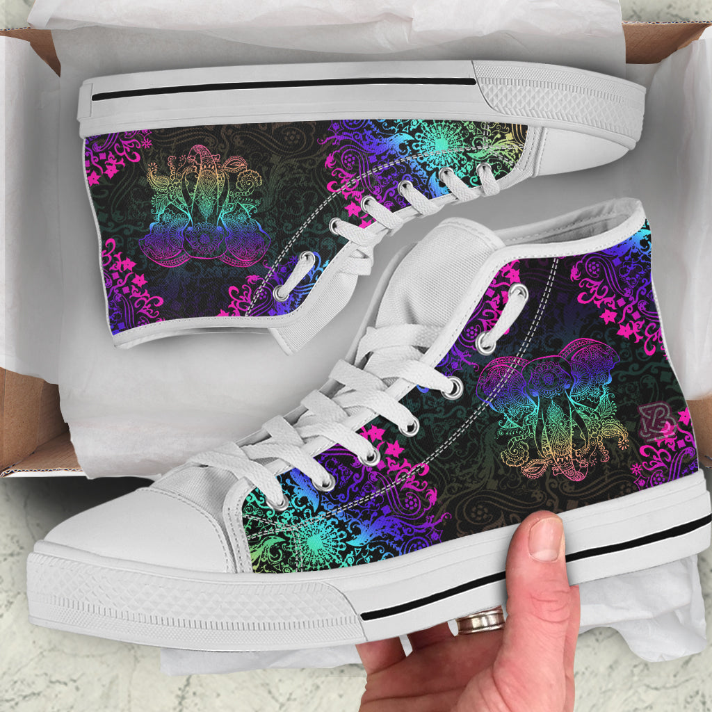 Neon Elephant Mandala by ZeusArt - High Tops and Low Tops