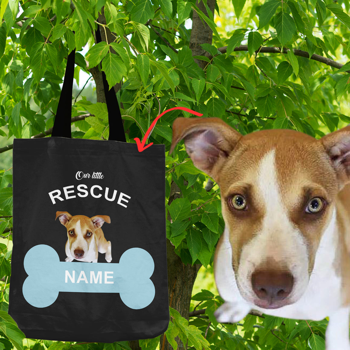 Personalized - Our Little Rescue Shopping Tote Bag