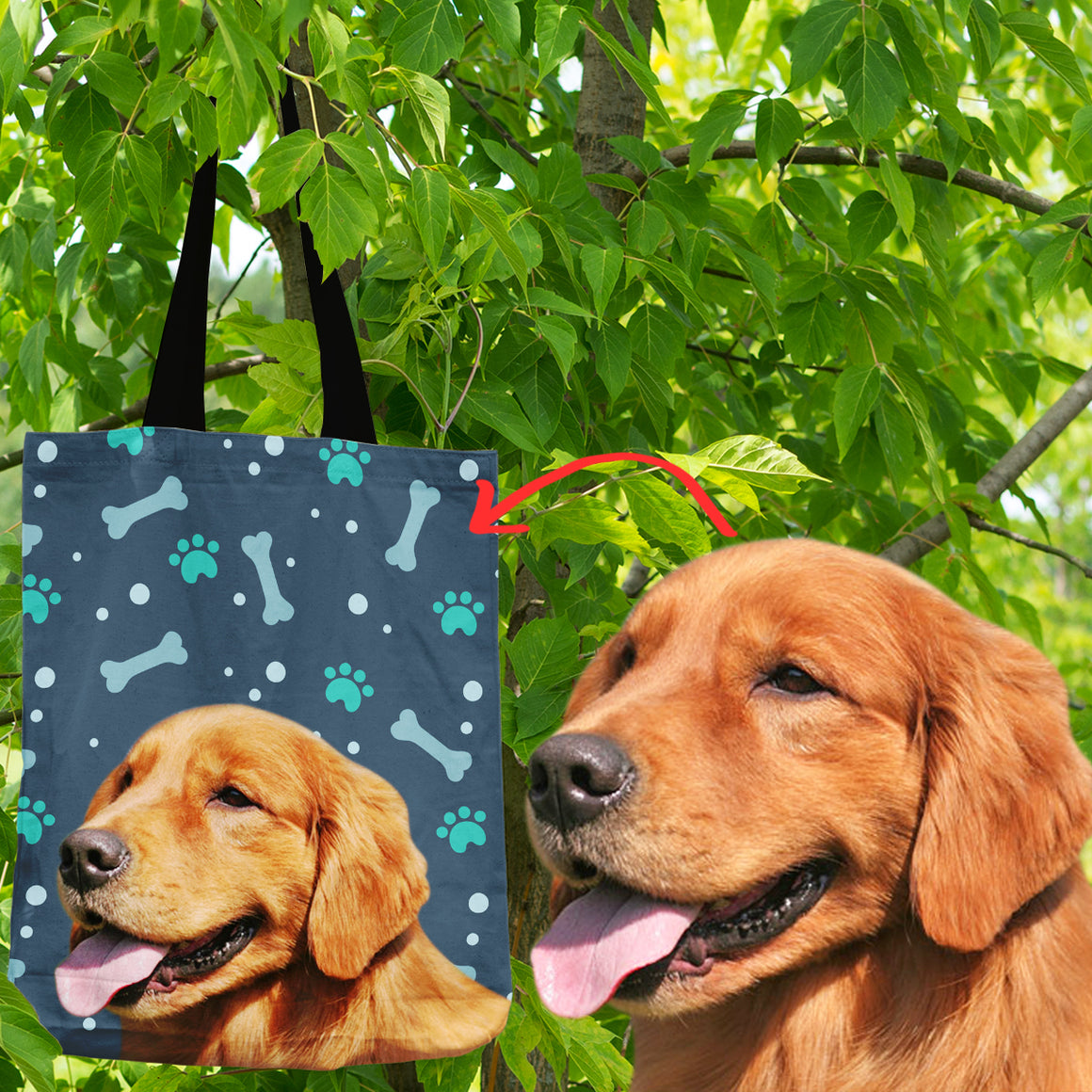 Personalized Golden Retriever Shopping Tote Bag