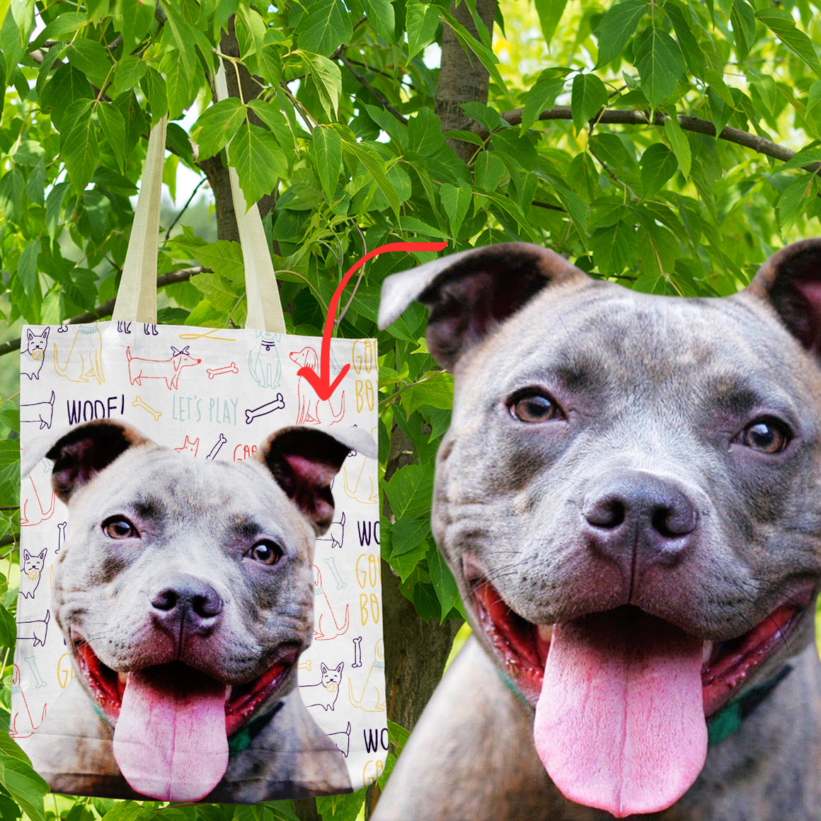Personalized Pitbull Shopping Tote Bag